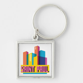 Saint Paul in Design Silver-Colored Square Keychain