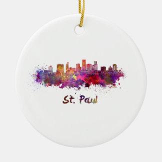Saint Paul skyline in watercolor Ceramic Ornament