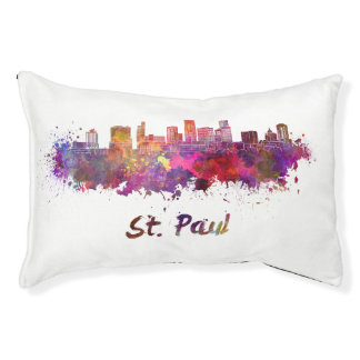 Saint Paul skyline in watercolor Pet Bed