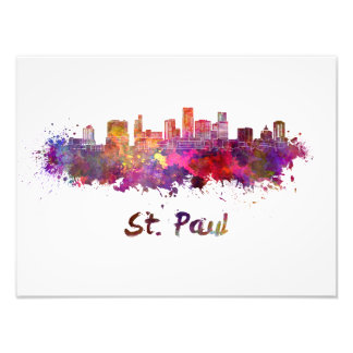 Saint Paul skyline in watercolor Photo Print