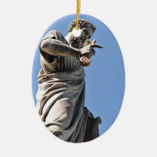 Saint Peter statue in Rome, Italy Ceramic Oval Ornament