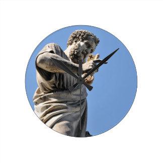 Saint Peter statue in Rome, Italy Round Clock