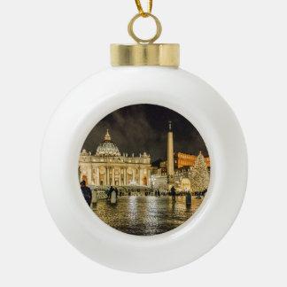 Saint Peters Basilica Winter Night Scene, Rome Ceramic Ball Christmas Ornament