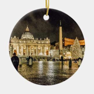 Saint Peters Basilica Winter Night Scene, Rome Ceramic Ornament