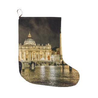 Saint Peters Basilica Winter Night Scene, Rome Large Christmas Stocking