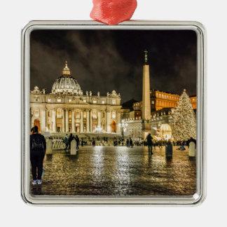 Saint Peters Basilica Winter Night Scene, Rome Metal Ornament