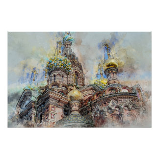 Saint petersbourg cathedral ,russia poster