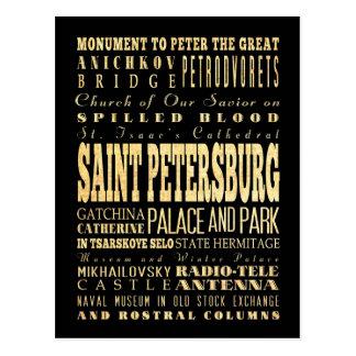 Saint Petersburg of Russia Typography Art Postcard
