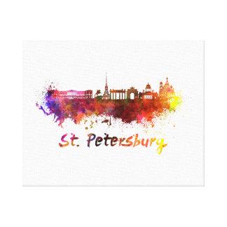 Saint Petersburg skyline in watercolor Canvas Print