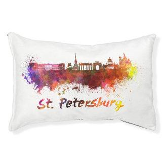 Saint Petersburg skyline in watercolor Pet Bed