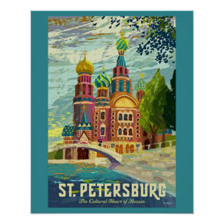 Saint Petersburg Vintage Travel Poster