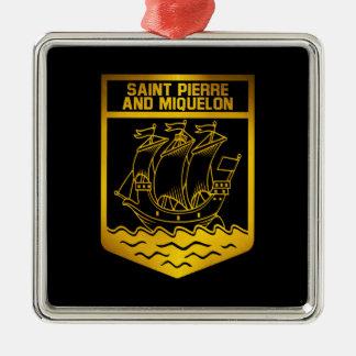 Saint Pierre and Miquelon Emblem Silver-Colored Square Ornament