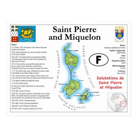 Saint Pierre and Miquelon Map Postcard