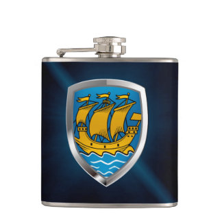 Saint Pierre and Miquelon Metallic Emblem Flasks