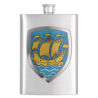 Saint Pierre and Miquelon Metallic Emblem Hip Flask