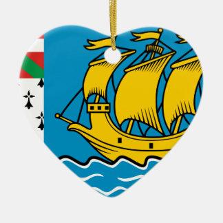 Saint Pierre Flag Ceramic Heart Ornament