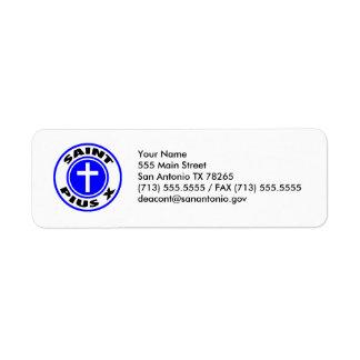 Saint Pius X Return Address Label