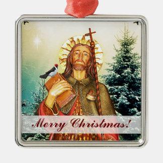 Saint Rocco Square Merry Christmas Ornament