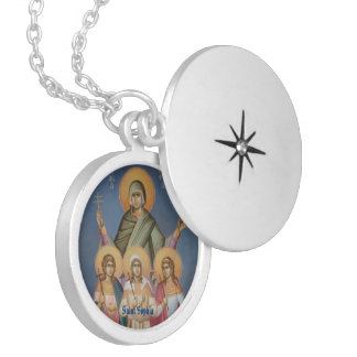 Saint Sophia Round Silver Plated Locket