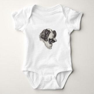Saint St. Bernard Dog Profile Portrait Drawing Baby Bodysuit
