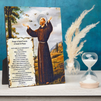 Saint St.Francis of Assisi Simple Prayer For Peace Display Plaques