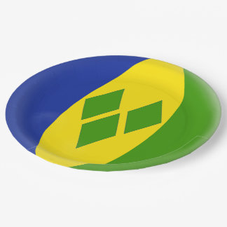 Saint St. Vincent and the Grenadines Flag Paper Plate