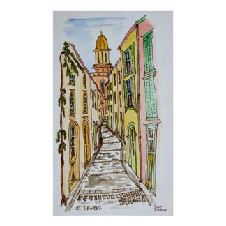 Saint-Tropez Buildings | French Riviera, France Poster