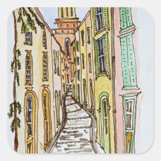 Saint-Tropez Buildings   French Riviera, France Square Sticker