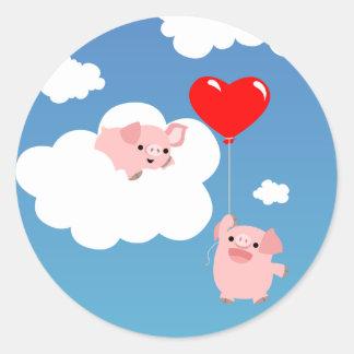 Saint-Valentin : Les ailes de l'autocollant Sticker Rond