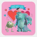 Saint-Valentin - Monsters Inc. Autocollants Carrés