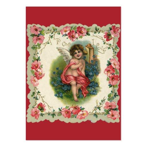 Saint-Valentin vintage, ange victorien au téléphon Carte De Visite