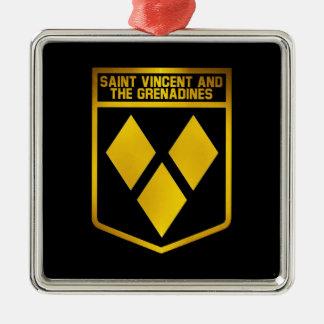 Saint Vincent and the Grenadines Emblem Silver-Colored Square Ornament