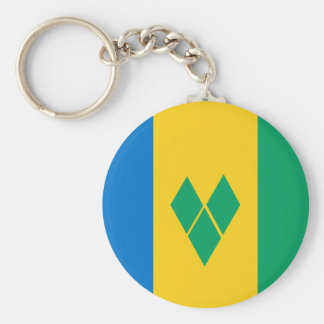 Saint Vincent and the Grenadines Flag Basic Round Button Keychain