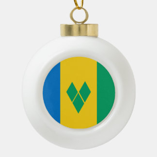 Saint Vincent and the Grenadines Flag Ceramic Ball Christmas Ornament