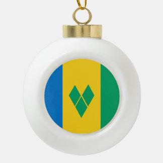 Saint Vincent and the Grenadines Flag Ceramic Ball Ornament