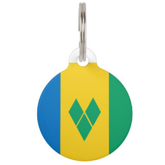 Saint Vincent and the Grenadines Flag Pet ID Tag