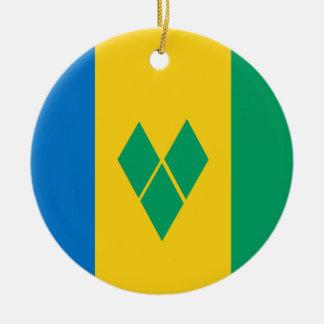 Saint Vincent and the Grenadines Flag Round Ceramic Ornament