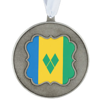 Saint Vincent and the Grenadines Flag Scalloped Pewter Ornament
