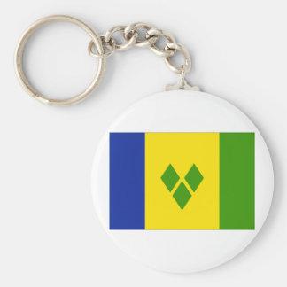 Saint Vincent Flag Basic Round Button Keychain