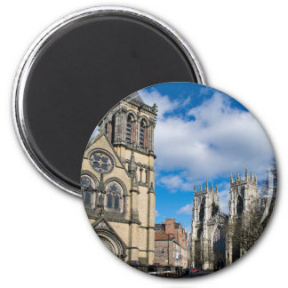 Saint Wilfrids and York Minster. 2 Inch Round Magnet