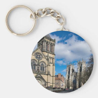 Saint Wilfrids and York Minster. Basic Round Button Keychain