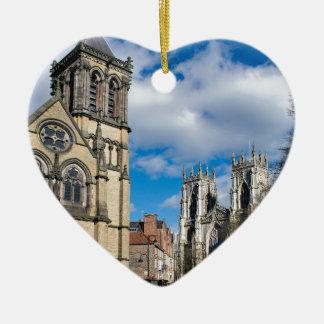 Saint Wilfrids and York Minster. Ceramic Heart Ornament