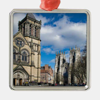 Saint Wilfrids and York Minster. Silver-Colored Square Ornament