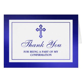 Sainte communion ou confirmation croisée bleue carte de vœux