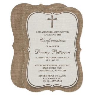 Sainte communion ou confirmation rustique de croix carton d'invitation  12,7 cm x 17,78 cm