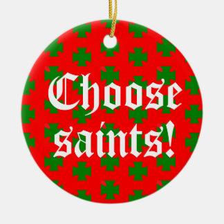Saints_Aplenty Slogan Circ (Christmas Ed. #2) Ceramic Ornament