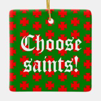 Saints_Aplenty Slogan Square (Christmas Ed. #1) Ceramic Ornament