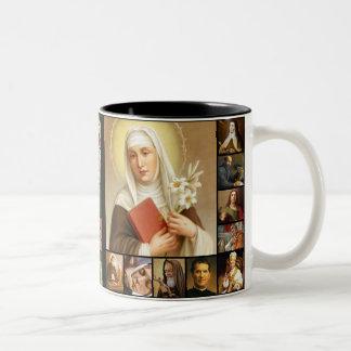Saints, Holy Images, Jesus, Mary, St. Joseph Two-Tone Coffee Mug