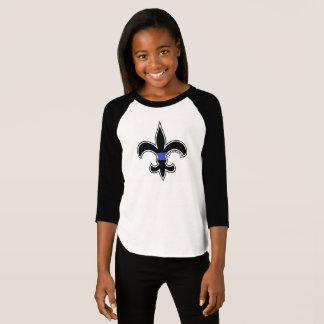 Saints Law Enforcement Thin Blue Line Girls Raglan T-Shirt