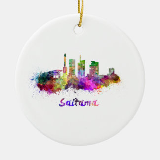 Saitama skyline in watercolor ceramic ornament